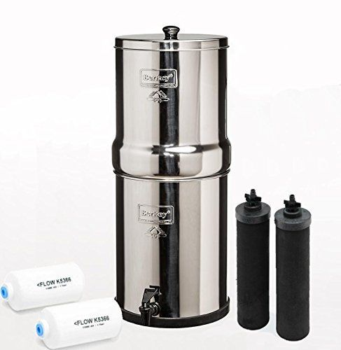 Stainless Steel Berkey Water Purifier Along With Two Black Berkey Filters And Two Berkey FLOW K5366 Filters